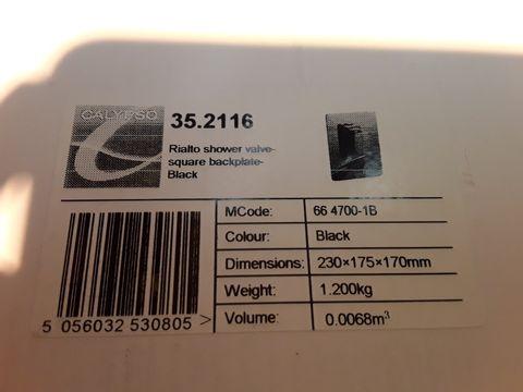 Lot 10658 BOXED CALYPSO RIALTO SHOWER VALVE SQUARE BACKPLATE BLACK
