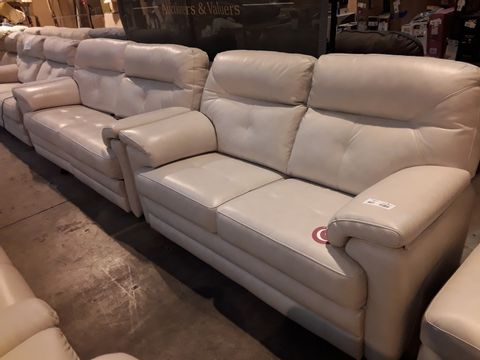 Lot 607 QUALITY BRITISH MANUFACTURED HARDWOOD FRAMED CREAM LEATHER THREE & TWO SEATER SOFAS (THREE SEATER POWER RECLINING)
