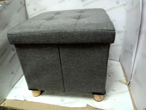 Lot 10342 SMALL SQUARE BUTTON DETAIL FOOT STOOL WITH STORAGE SPACE - GREY