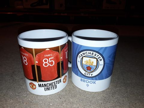 Lot 2208 LOT OF 2 PERSONALISED OFFICIAL LICENSED FOOTBALL BADGE MUGS RRP £28.00