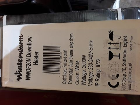 Lot 10583 BOXED WINGERWARM WWDF20N DOWNFLOW HEATER WHITE 2000W