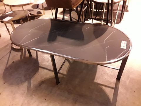 Lot 29 DESIGNER CHROME FRAMED OVAL BLACK MARBLE EFFECT COFFEE TABLE