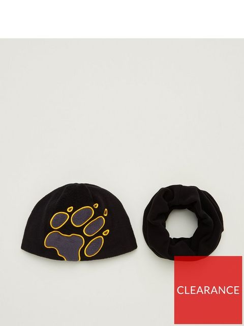 Lot 1880 BRAND NEW JACK WOLFSKIN KIDS HAT & SNOOD SET - BLACK S