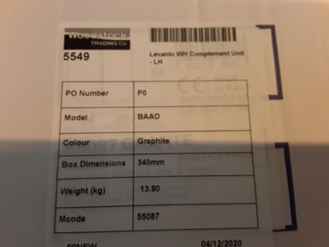 Lot 10636 BOXED DESIGNER LEVANTO WH COMPLEMENT UNIT LH GRAPHITE