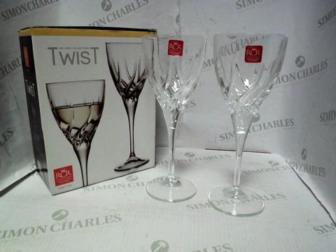 Lot 7044 SET OF 2 RCR DA VINCI TWIST WINE GLASSES