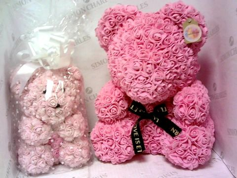 Lot 4200 A LARGE AND SMALL PINK FOREVER BEARS SET