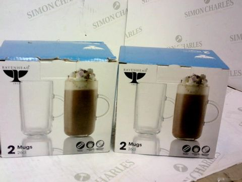 Lot 82 ENTERTAIN SET OF 4 TALL GLASS MUGS - 2 BOXES OF 2 RRP £29.98