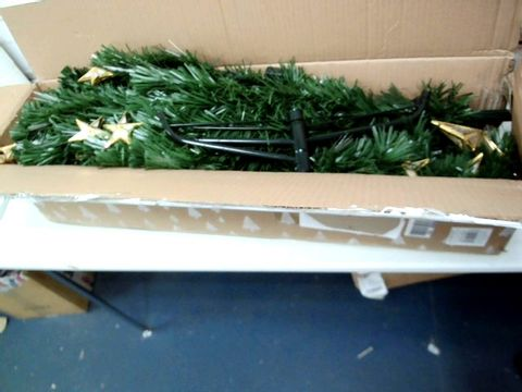Lot 154 WERCHRISTMAS PRE-LIT FIBRE OPTIC MULTI-FUNCTION CHRISTMAS TREE WITH TREE TOPPER, GREEN, 5 FEET/1.5 M