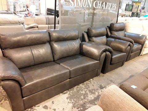 Lot 624 QUALITY BRITISH MANUFACTURED HARDWOOD FRAMED DARK GREY LEATHER LOUNGE SUITE, COMPRISING, THREE SEATER FIXED SOFA, FIXED EASY CHAIR & POWER RECLINING EASY CHAIR