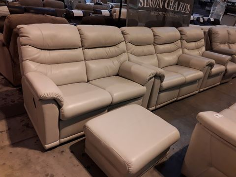 Lot 613 QUALITY BRITISH MANUFACTURED HARDWOOD FRAMED BEIGE LEATHER FIXED LOUNGE SUITE, COMPRISING, PAIR OF TWO SEATER SOFAS, EASY CHAIR & FOOTSTOOL