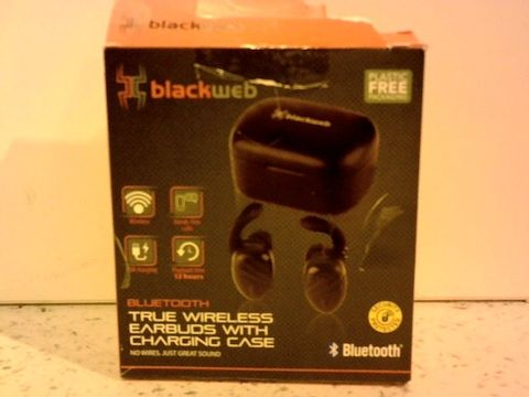 Lot 12303 BLACKWEB TRUE WIRELESS EARBUDS WITH CHARGING CASE