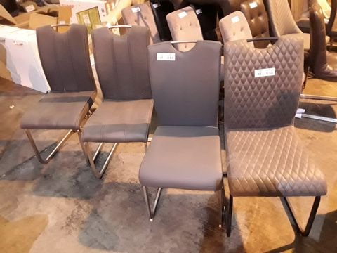 Lot 17 PAIR OF DESIGNER UPHOLSTERED SINGKE DINING CHAIRS & 2 OTHERS ALL WITH EXPOSED TOP HAND RAIL
