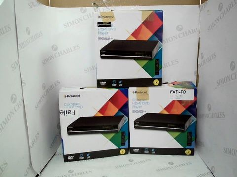 Lot 12436 LOT OF 3 ASSORTED POLAROID COMPACT HDMI DVD PLAYERS