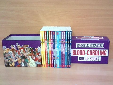 Lot 1075 HORRIBLE HISTORIES BLOOD CURLING BOX OF BOOKS RRP £99.99