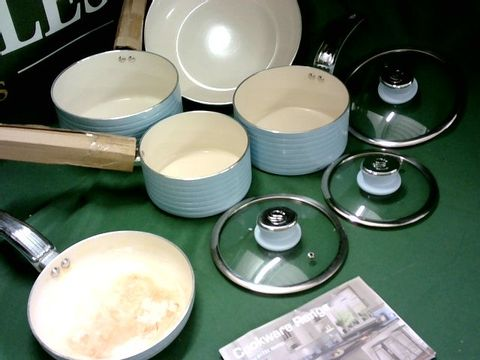 Lot 4113 SWAN RETRO INDUCTION PAN SET WITH GLASS LID