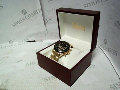 Lot 3 DESIGNER EDISON BLACK & GOLD CHRONOGRAPH STYLE BRACELET STRAP WRISTWATCH RRP £600.00