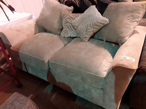 Lot 89 DESIGNER NATURAL FABRIC TWO SEATER SOFA WITH SCATTER CUSHIONS