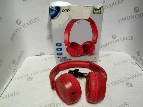 Lot 7385 ONN WIRELESS HEADPHONES - RED