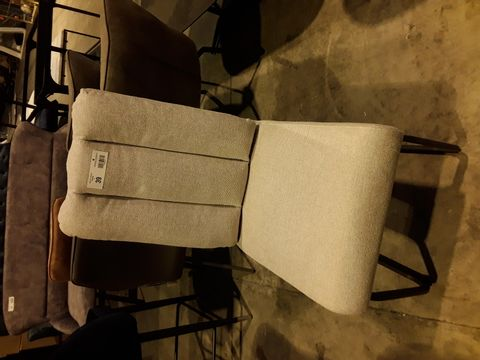 Lot 39 DESIGNER NATURAL FABRIC UPHOLSTERED DINING CHAIR