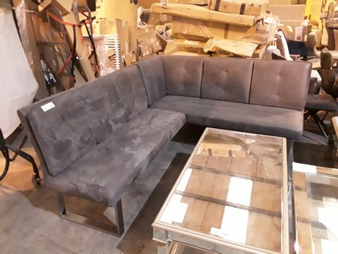 Lot 2 DESIGNER GREY SUEDE CORNER SEATING BENCH ON CHROME SUPPORTS