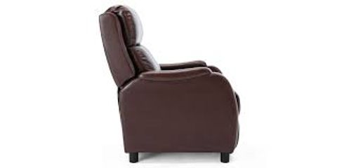 Lot 573 BOXED DESIGNER BROWN LEATHER PUSHBACK RECLINING EASY CHAIR