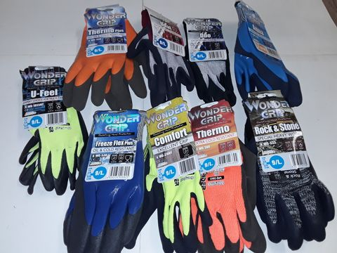 Lot 3155 LOT OF 9 ASSORTED PAIRS OF WONDEF GRIP WORK GLOVES