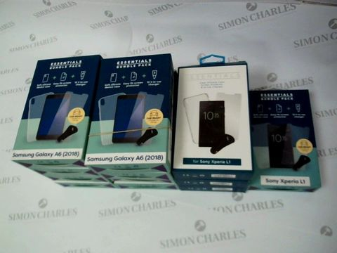 Lot 2618 BOX OF 12 BRAND NEW BOXED ESSENTIALS KITS FOR SAMSUNG GALAXY A6 AND SONY XPERIA L1