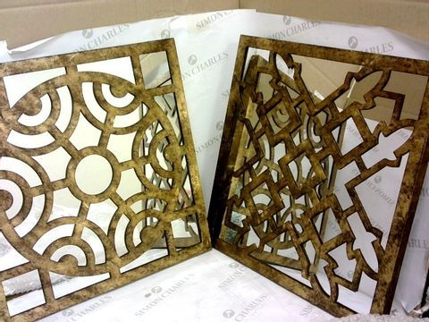 Lot 142 PACIFIC LIFESTYLE SQUARE ANTIQUE GOLD METAL MIRRORED WALL ART 4 PANELS RRP £174.99