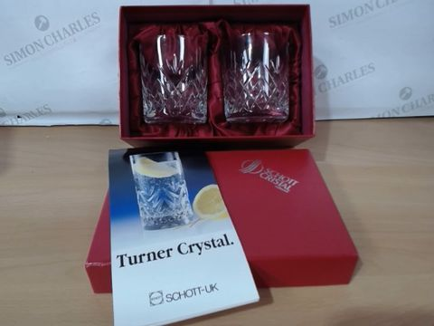Lot 3021 SCHOTT CRYSTAL GERMANY TURNER SPECIAL WHISKY PAIR GLASSES