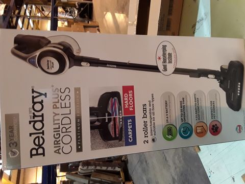 Lot 10607 BOXED BELDRAY AIRGILITY PLUS+ CORDLESS VACUUM CLEANER