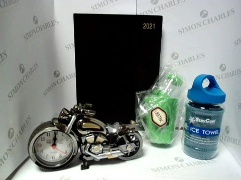 Lot 17369 BOX OF A LARGE QUANTITY OF ASSORTED HOUSEHOLD ITEMS, TO INCLUDE UEETEK HAMSTER/MOUSE CAGE ACCESSORIES, MOTORBIKE ALARM CLOCK, STAYCOOL ICE TOWEL, ETC
