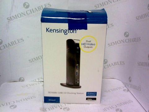 Lot 952 KENSINGTON DUAL HD VIDEO OUTPUTS. SD3500V USB 3.0 DOCKING STATION