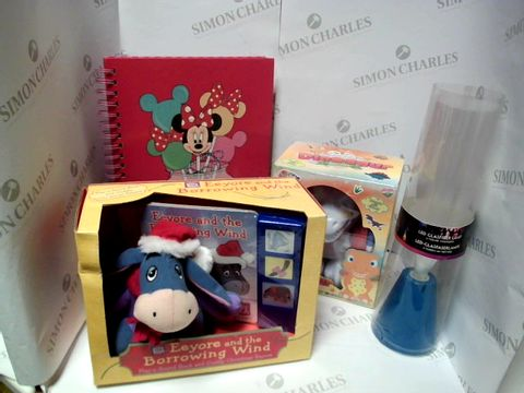 Lot 17766 LOT OF APPROXIMATELY 4 ASSORTED HOUSEHOLD ITEMS, TO INCLUDE COLOUR YOUR OWN DINOSAUR, EEYORE BOOK & TOY, MINNIE MOUSE A4 NOTEBOOK, ETC