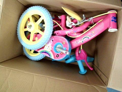 "Lot 15637 12"" PEPPA PIG CHILDREN'S BIKE RRP £99.99"
