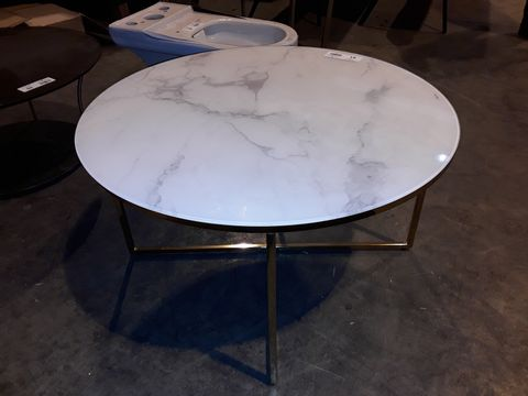Lot 51 DESIGNER CIRCULAR MARBLE EFFECT GLASS TOP COFFEE TABLE